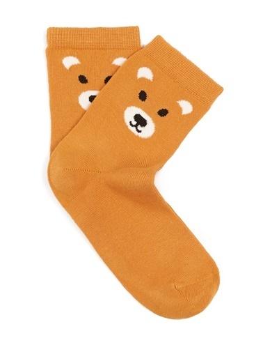 Mavi Desenli Çorap Sarı